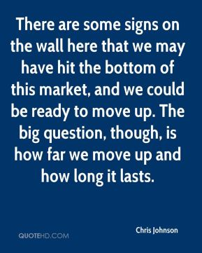 There are some signs on the wall here that we may have hit the bottom of this market, and we could be ready to move up. The big question, though, is how far we move up and how long it lasts.