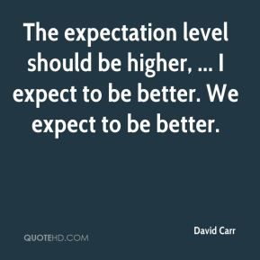 The expectation level should be higher, ... I expect to be better. We expect to be better.