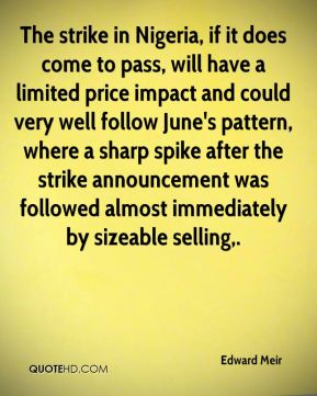 The strike in Nigeria, if it does come to pass, will have a limited price impact and could very well follow June's pattern, where a sharp spike after the strike announcement was followed almost immediately by sizeable selling.