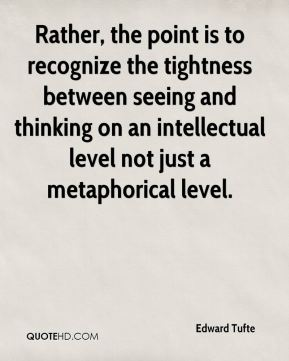 Edward Tufte - Rather, the point is to recognize the tightness between seeing and thinking on an intellectual level not just a metaphorical level.