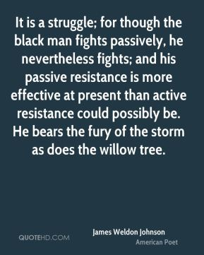James Weldon Johnson - It is a struggle; for though the black man fights passively, he nevertheless fights; and his passive resistance is more effective at present than active resistance could possibly be. He bears the fury of the storm as does the willow tree.