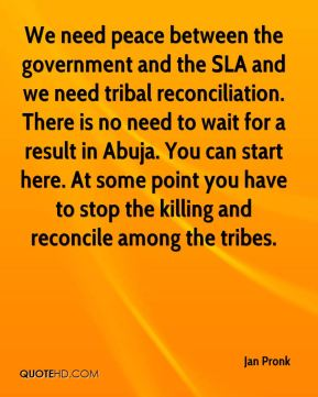 Jan Pronk  - We need peace between the government and the SLA and we need tribal reconciliation. There is no need to wait for a result in Abuja. You can start here. At some point you have to stop the killing and reconcile among the tribes.