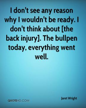 I don't see any reason why I wouldn't be ready. I don't think about [the back injury]. The bullpen today, everything went well.