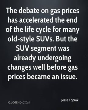 Jesse Toprak  - The debate on gas prices has accelerated the end of the life cycle for many old-style SUVs. But the SUV segment was already undergoing changes well before gas prices became an issue.