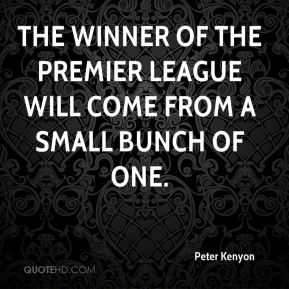 The winner of the Premier League will come from a small bunch of one.