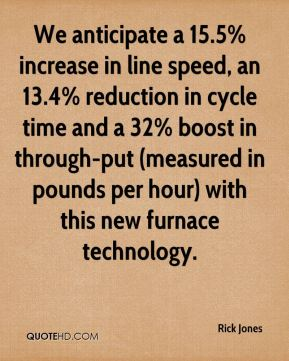 Rick Jones  - We anticipate a 15.5% increase in line speed, an 13.4% reduction in cycle time and a 32% boost in through-put (measured in pounds per hour) with this new furnace technology.