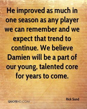 He improved as much in one season as any player we can remember and we expect that trend to continue. We believe Damien will be a part of our young, talented core for years to come.