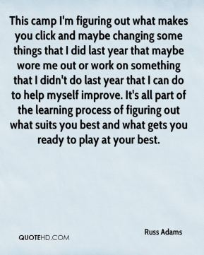 Russ Adams  - This camp I'm figuring out what makes you click and maybe changing some things that I did last year that maybe wore me out or work on something that I didn't do last year that I can do to help myself improve. It's all part of the learning process of figuring out what suits you best and what gets you ready to play at your best.