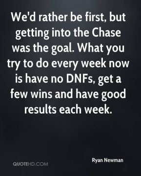 Ryan Newman  - We'd rather be first, but getting into the Chase was the goal. What you try to do every week now is have no DNFs, get a few wins and have good results each week.
