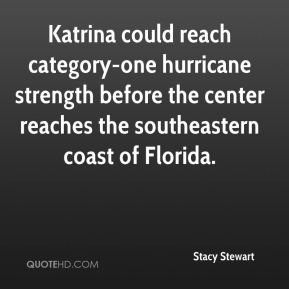 Stacy Stewart  - Katrina could reach category-one hurricane strength before the center reaches the southeastern coast of Florida.