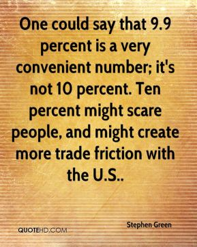 Stephen Green  - One could say that 9.9 percent is a very convenient number; it's not 10 percent. Ten percent might scare people, and might create more trade friction with the U.S..