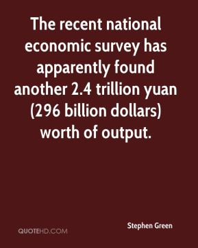 Stephen Green  - The recent national economic survey has apparently found another 2.4 trillion yuan (296 billion dollars) worth of output.