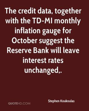 Stephen Koukoulas  - The credit data, together with the TD-MI monthly inflation gauge for October suggest the Reserve Bank will leave interest rates unchanged.
