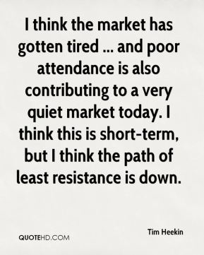 Tim Heekin  - I think the market has gotten tired ... and poor attendance is also contributing to a very quiet market today. I think this is short-term, but I think the path of least resistance is down.