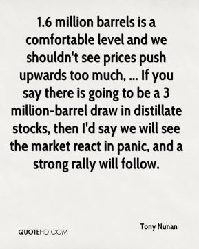 Tony Nunan  - 1.6 million barrels is a comfortable level and we shouldn't see prices push upwards too much, ... If you say there is going to be a 3 million-barrel draw in distillate stocks, then I'd say we will see the market react in panic, and a strong rally will follow.