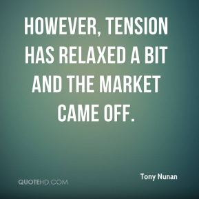 However, tension has relaxed a bit and the market came off.