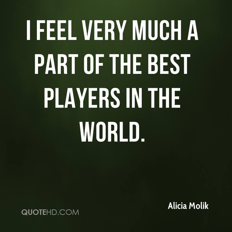 I feel very much a part of the best players in the world.