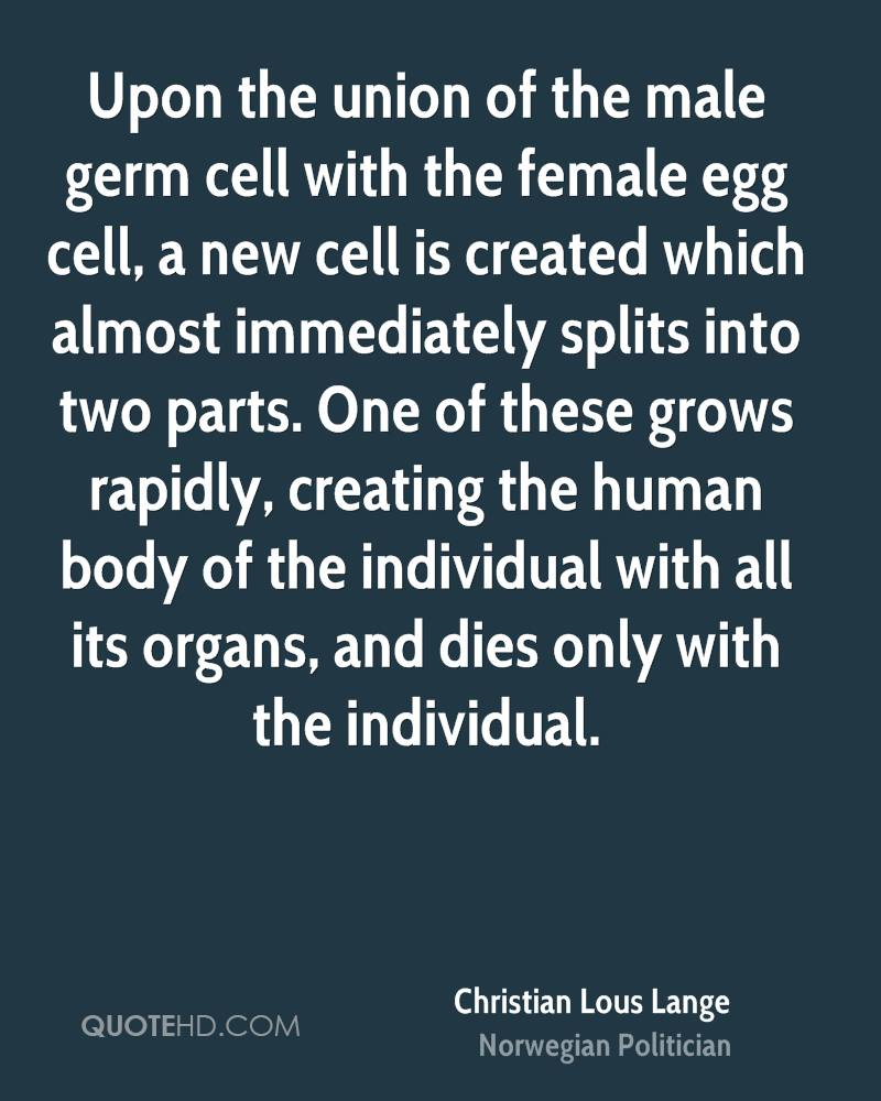 Upon the union of the male germ cell with the female egg cell, a new cell is created which almost immediately splits into two parts. One of these grows rapidly, creating the human body of the individual with all its organs, and dies only with the individual.