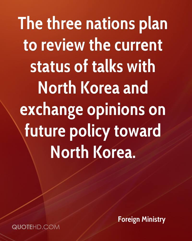 The three nations plan to review the current status of talks with North Korea and exchange opinions on future policy toward North Korea.