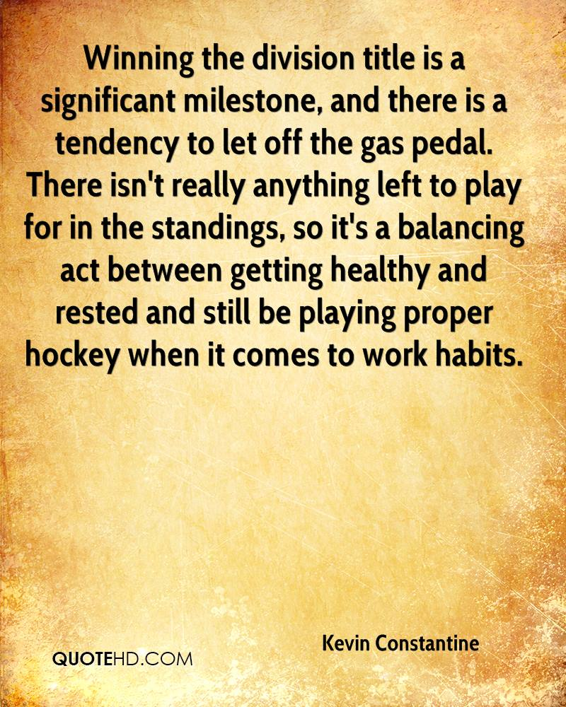 Winning the division title is a significant milestone, and there is a tendency to let off the gas pedal. There isn't really anything left to play for in the standings, so it's a balancing act between getting healthy and rested and still be playing proper hockey when it comes to work habits.
