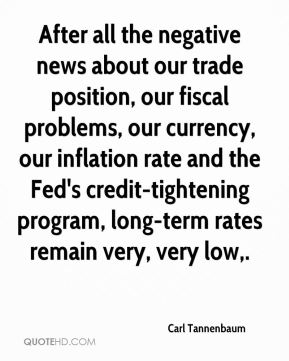After all the negative news about our trade position, our fiscal problems, our currency, our inflation rate and the Fed's credit-tightening program, long-term rates remain very, very low.