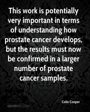 Colin Cooper - This work is potentially very important in terms of understanding how prostate cancer develops, but the results must now be confirmed in a larger number of prostate cancer samples.