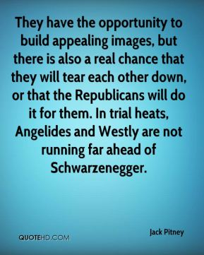 Jack Pitney - They have the opportunity to build appealing images, but there is also a real chance that they will tear each other down, or that the Republicans will do it for them. In trial heats, Angelides and Westly are not running far ahead of Schwarzenegger.