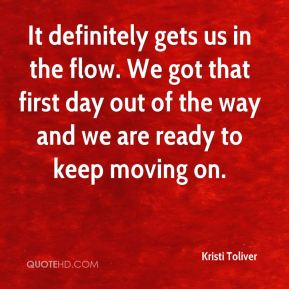 Kristi Toliver  - It definitely gets us in the flow. We got that first day out of the way and we are ready to keep moving on.