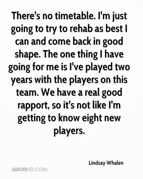 Lindsay Whalen  - There's no timetable. I'm just going to try to rehab as best I can and come back in good shape. The one thing I have going for me is I've played two years with the players on this team. We have a real good rapport, so it's not like I'm getting to know eight new players.