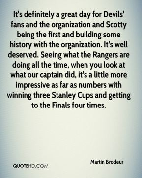 It's definitely a great day for Devils' fans and the organization and Scotty being the first and building some history with the organization. It's well deserved. Seeing what the Rangers are doing all the time, when you look at what our captain did, it's a little more impressive as far as numbers with winning three Stanley Cups and getting to the Finals four times.