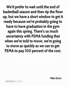 Mike Davis  - We'd prefer to wait until the end of basketball season and then rip the floor up, but we have a short window to get it ready because we're probably going to have to have graduation in the gym again this spring. There's so much uncertainty with FEMA funding that when we're told to move, we're going to move as quickly as we can to get FEMA to pay 100 percent of the cost.