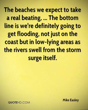 Mike Easley  - The beaches we expect to take a real beating, ... The bottom line is we're definitely going to get flooding, not just on the coast but in low-lying areas as the rivers swell from the storm surge itself.