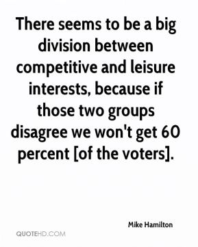 Mike Hamilton  - There seems to be a big division between competitive and leisure interests, because if those two groups disagree we won't get 60 percent [of the voters].