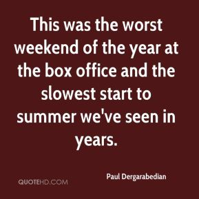 This was the worst weekend of the year at the box office and the slowest start to summer we've seen in years.
