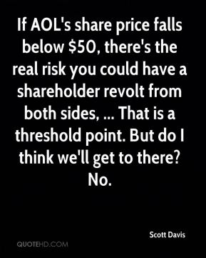 Scott Davis  - If AOL's share price falls below $50, there's the real risk you could have a shareholder revolt from both sides, ... That is a threshold point. But do I think we'll get to there? No.