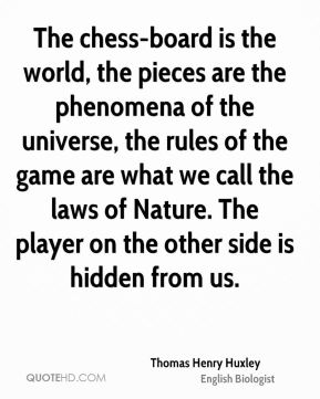 The chess-board is the world, the pieces are the phenomena of the universe, the rules of the game are what we call the laws of Nature. The player on the other side is hidden from us.