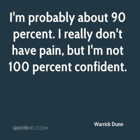 I'm probably about 90 percent. I really don't have pain, but I'm not 100 percent confident.