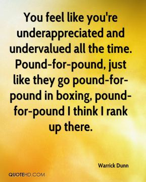 You feel like you're underappreciated and undervalued all the time. Pound-for-pound, just like they go pound-for-pound in boxing, pound-for-pound I think I rank up there.