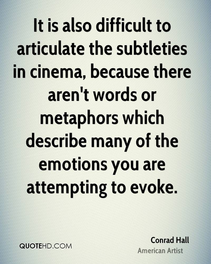 It is also difficult to articulate the subtleties in cinema, because there aren't words or metaphors which describe many of the emotions you are attempting to evoke.