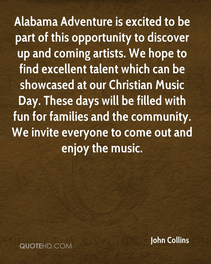 Alabama Adventure is excited to be part of this opportunity to discover up and coming artists. We hope to find excellent talent which can be showcased at our Christian Music Day. These days will be filled with fun for families and the community. We invite everyone to come out and enjoy the music.
