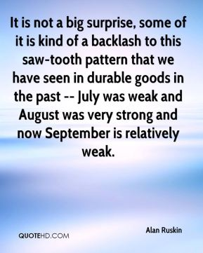 Alan Ruskin - It is not a big surprise, some of it is kind of a backlash to this saw-tooth pattern that we have seen in durable goods in the past -- July was weak and August was very strong and now September is relatively weak.
