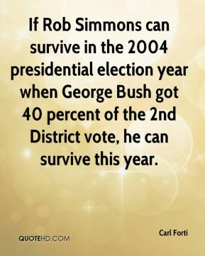 If Rob Simmons can survive in the 2004 presidential election year when George Bush got 40 percent of the 2nd District vote, he can survive this year.