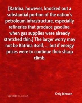 [Katrina, however, knocked out a substantial portion of the nation's petroleum infrastructure, especially refineries that produce gasoline, when gas supplies were already stretched thin.] The larger worry may not be Katrina itself, ... but if energy prices were to continue their sharp climb.