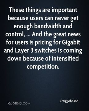 These things are important because users can never get enough bandwidth and control, ... And the great news for users is pricing for Gigabit and Layer 3 switches is coming down because of intensified competition.