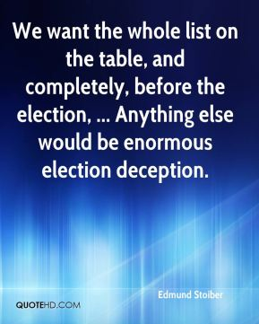 Edmund Stoiber - We want the whole list on the table, and completely, before the election, ... Anything else would be enormous election deception.