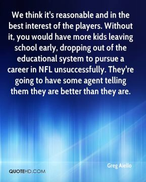 Greg Aiello - We think it's reasonable and in the best interest of the players. Without it, you would have more kids leaving school early, dropping out of the educational system to pursue a career in NFL unsuccessfully. They're going to have some agent telling them they are better than they are.