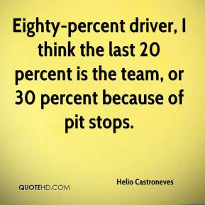 Eighty-percent driver, I think the last 20 percent is the team, or 30 percent because of pit stops.