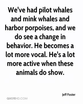 Jeff Foster  - We've had pilot whales and mink whales and harbor porpoises, and we do see a change in behavior. He becomes a lot more vocal. He's a lot more active when these animals do show.