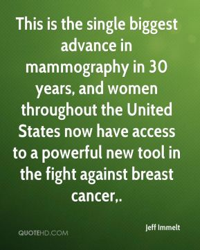 This is the single biggest advance in mammography in 30 years, and women throughout the United States now have access to a powerful new tool in the fight against breast cancer.