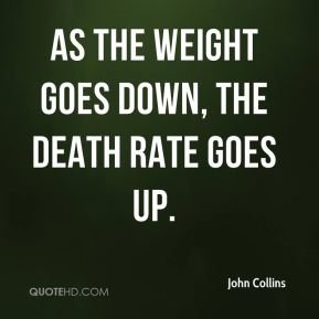 As the weight goes down, the death rate goes up.